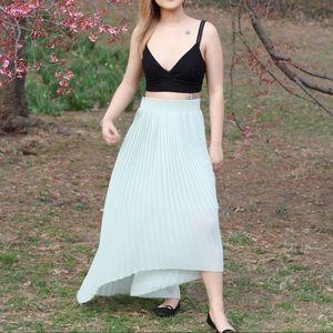 4dfedc78 Pleated green blue maxi skirt - Zaras